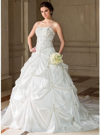 Chic Chapel Train Ball-Gown Wedding Dresses Sweetheart Taffeta Sleeveless