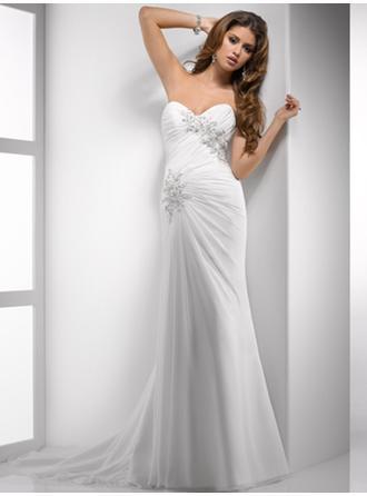 Sheath/Column Sweetheart Court Train Wedding Dresses With Ruffle Beading
