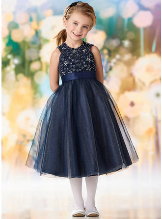 A-Line/Princess Scoop Neck Tea-length Tulle/Lace Sleeveless Flower Girl Dresses (010216426)