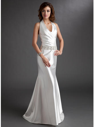 A-Line/Princess Halter Sweep Train Mother of the Bride Dresses With Ruffle Beading