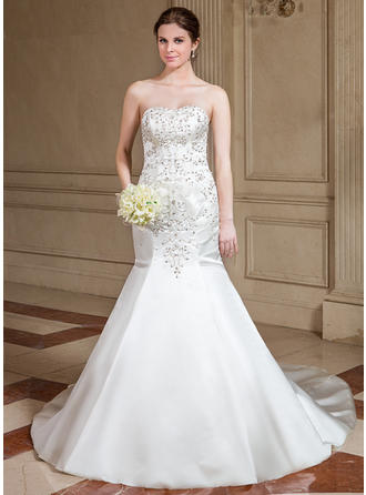 Trumpet/Mermaid Cathedral Train Wedding Dress With Beading Sequins
