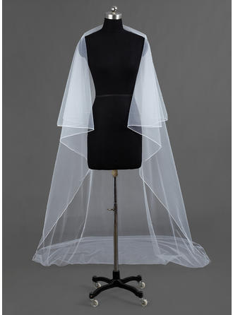 Cathedral Bridal Veils Tulle One-tier Drop Veil/Rectangular With Pencil Edge Wedding Veils