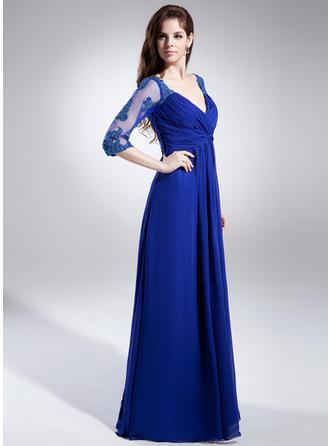 A-Linie/Princess-Linie V-Ausschnitt Chiffon 1/2 Ärmel Bodenlang Rüschen Spitze Perlstickerei Kleider für die Brautmutter (008006046)