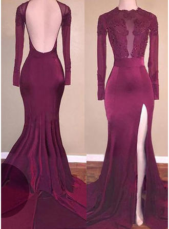 Gorgeous Jersey Evening Dresses Trumpet/Mermaid Sweep Train Scoop Neck Long Sleeves
