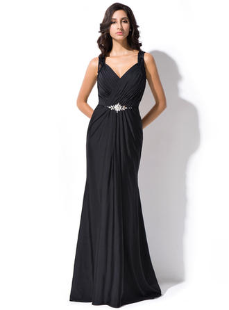 Trumpet/Mermaid V-neck Lace Jersey Sleeveless Sweep Train Ruffle Beading Sequins Evening Dresses