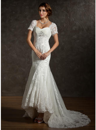 Sweetheart Trumpet/Mermaid Wedding Dresses Tulle Ruffle Lace Beading Short Sleeves Asymmetrical