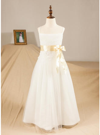 A-Line/Princess Floor-length Flower Girl Dress - Satin/Tulle Sleeveless Straps With Sash/Appliques/Bow(s)