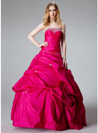 Ball-Gown Taffeta Glamorous Floor-Length Strapless Sleeveless