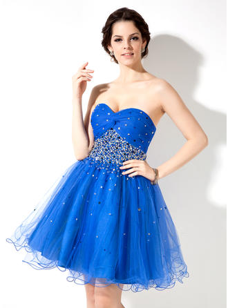 A-Line/Princess Sweetheart Short/Mini Tulle Homecoming Dresses With Ruffle Beading Sequins