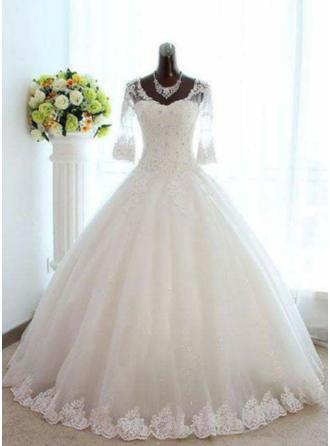 Gorgeous Floor-Length Ball-Gown Wedding Dresses V-neck Tulle Lace 3/4 Length Sleeves