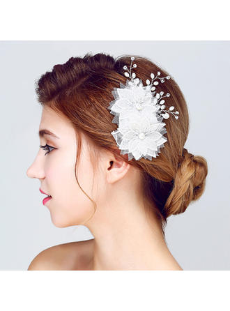 "Flowers & Feathers Wedding/Special Occasion/Outdoor/Party Alloy/Imitation Pearls/Lace 5.12""(Approx.13cm) 3.35""(Approx.8.5cm) Headpieces"