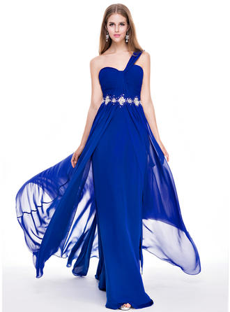 Chiffon Sleeveless A-Line/Princess Prom Dresses One-Shoulder Ruffle Beading Sequins Sweep Train