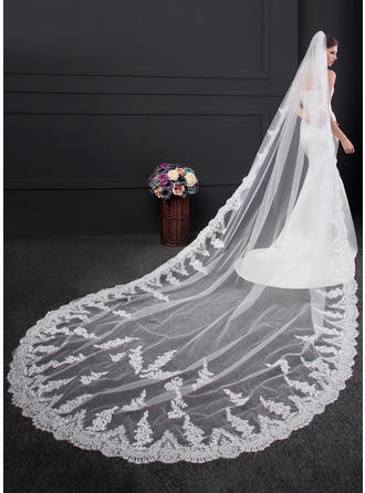 One-tier Lace Applique Edge Cathedral Bridal Veils With Lace (006150921)