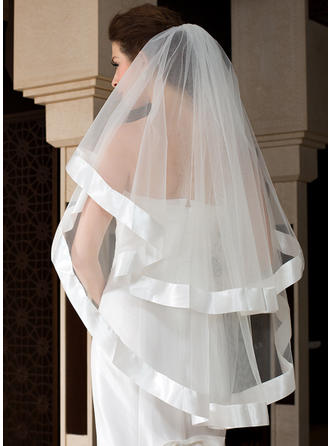 Waltz Bridal Veils Tulle One-tier Angel cut/Waterfall/Cascade With Ribbon Edge Wedding Veils