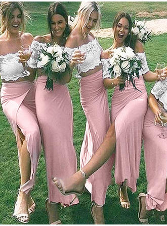 Sheath/Column Jersey Bridesmaid Dresses Off-the-Shoulder 1/2 Sleeves Floor-Length
