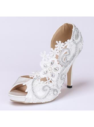 Women's Peep Toe Pumps Stiletto Heel Satin With Imitation Pearl Rhinestone Stitching Lace Flower Wedding Shoes