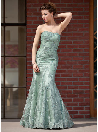 Trumpet/Mermaid Taffeta Lace Sleeveless Sweetheart Floor-Length Zipper Up Mother of the Bride Dresses