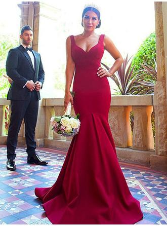 Trumpet/Mermaid V-neck - Satin Bridesmaid Dresses