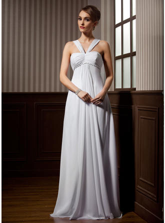 Newest Sweep Train Empire Wedding Dresses Sweetheart Chiffon Sleeveless