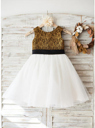 Glamorous Knee-length A-Line/Princess Flower Girl Dresses Scoop Neck Tulle/Lace Sleeveless