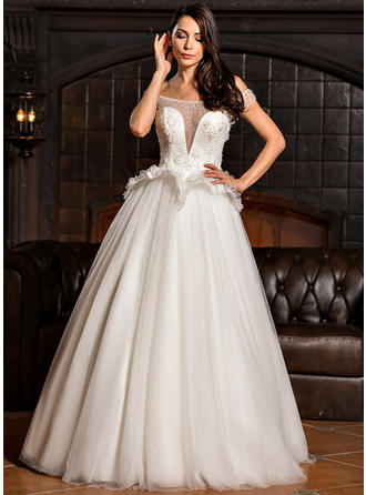 Ball-Gown Off-the-Shoulder Floor-Length Tulle Wedding Dress With Lace Beading