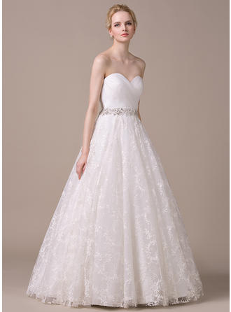 Magnificent Floor-Length Ball-Gown Wedding Dresses Sweetheart Organza Lace Sleeveless