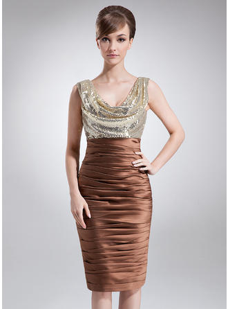 Sheath/Column Charmeuse Sequined Sleeveless Cowl Neck Knee-Length Zipper Up at Side Mother of the Bride Dresses
