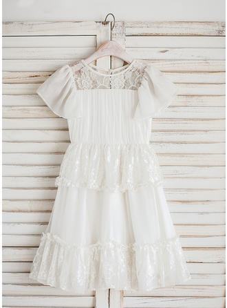 A-Line/Princess Scoop Neck Tea-length Chiffon/Lace Short Sleeves Flower Girl Dresses