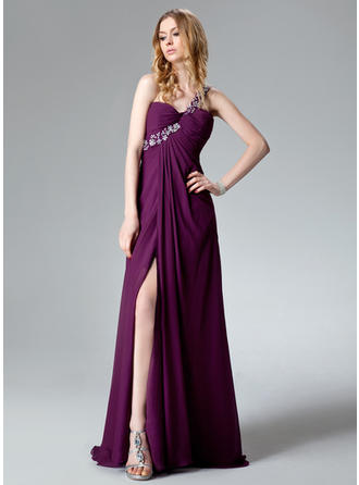 Empire One-Shoulder Sweep Train Evening Dresses With Ruffle Beading Appliques Lace Sequins Split Front