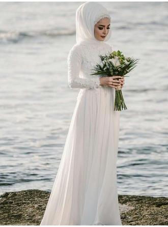 General Plus A-Line/Princess Chiffon Simple Wedding Dresses With Long Sleeves