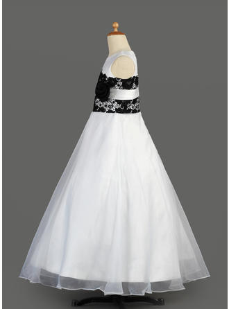 Glamorous Aライン/プリンセスライン2 レース 袖なし オーガンザ/サテン フラワーガールドレス (010014611)
