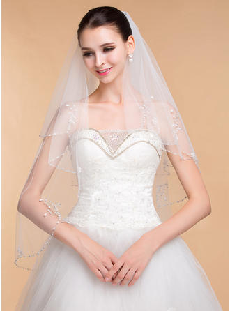 Two-tier Beaded Edge Elbow Bridal Veils With Rhinestones (006096805)