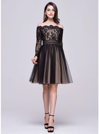 Off-the-Shoulder Long Sleeves Tulle Lace Beautiful Homecoming Dresses