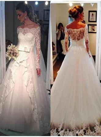 Ball-Gown Off-The-Shoulder Sweep Train Wedding Dress With Lace Sash Beading