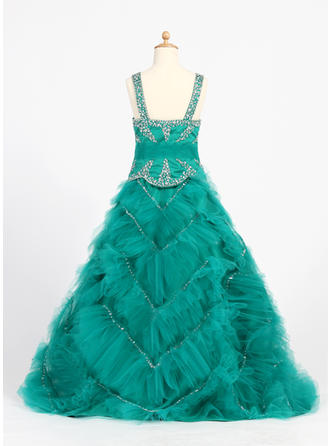 Fashion Straps Ball Gown Flower Girl Dresses Floor-length Satin/Tulle Sleeveless