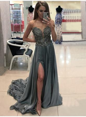 A-Line/Princess Chiffon Prom Dresses Simple Sweep Train Scoop Neck Sleeveless