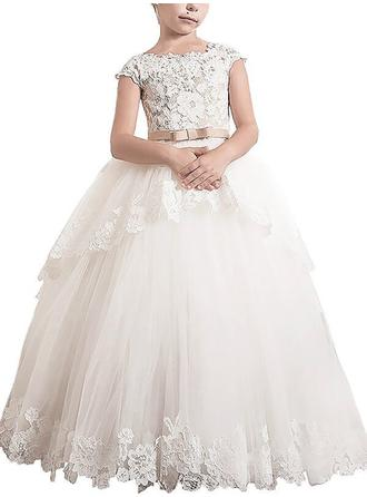 Scoop Neck Ball Gown Flower Girl Dresses Tulle Sash/Appliques Sleeveless Floor-length