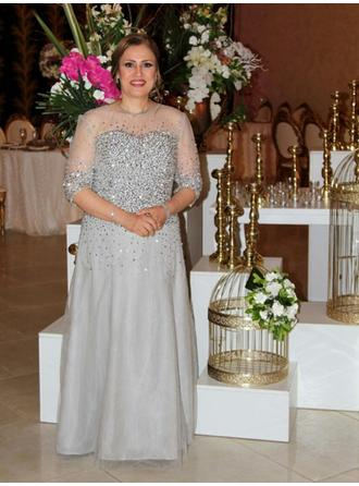 A-Line/Princess Scoop Neck Floor-Length Mother of the Bride Dresses With Beading (008212794)