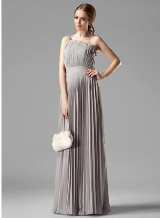 Chiffon Sleeveless Empire Bridesmaid Dresses One-Shoulder Beading Pleated Floor-Length