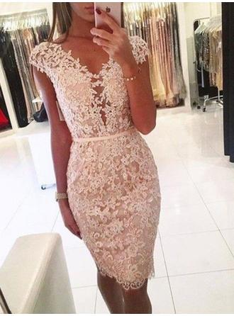 Sheath/Column Lace Lace Homecoming Dresses V-neck Sleeveless Knee-Length