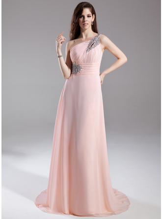 A-Line/Princess One-Shoulder Chiffon Sleeveless Court Train Ruffle Beading Evening Dresses (017015805)