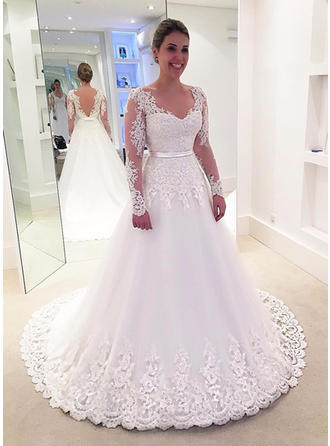 A-Line/Princess V-neck Sweep Train Wedding Dress With Lace Sash Appliques Lace