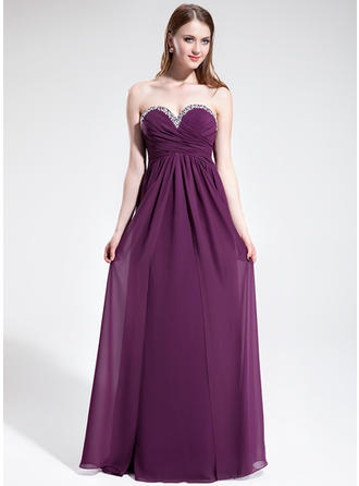 Floor-Length Chiffon Empire Sweetheart Prom Dresses