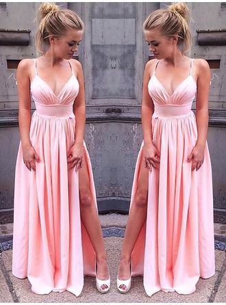 A-Line/Princess Chiffon Prom Dresses Split Front V-neck Sleeveless Floor-Length (018148429)