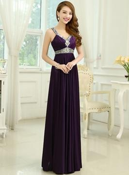 A-Line/Princess V-neck Floor-Length Chiffon Prom Dress With Beading