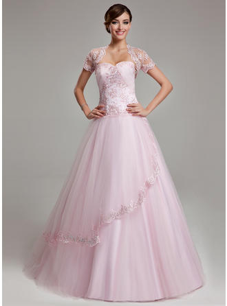 Ball-Gown Sweetheart Floor-Length Tulle Prom Dress With Ruffle Beading Appliques Lace
