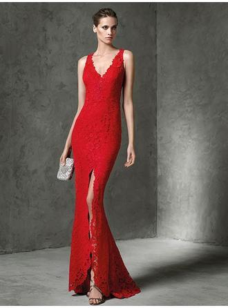 Sheath/Column V-neck Floor-Length Evening Dresses With Lace Split Front