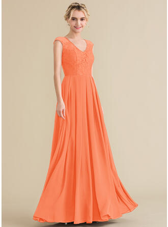 A-Line/Princess V-neck Floor-Length Chiffon Lace Bridesmaid Dress