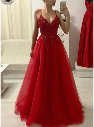 Elegant Tulle Prom Dresses A-Line/Princess Floor-Length V-neck Sleeveless