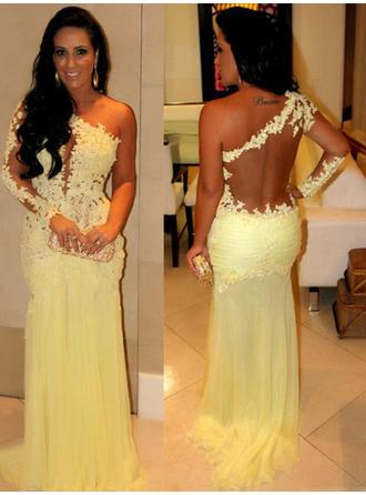 Chiffon Long Sleeves Sheath/Column Prom Dresses One-Shoulder Appliques Lace Sweep Train